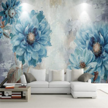 цены Nordic style European hand-painted oil painting blue flowers living room wall professional production wallpaper mural