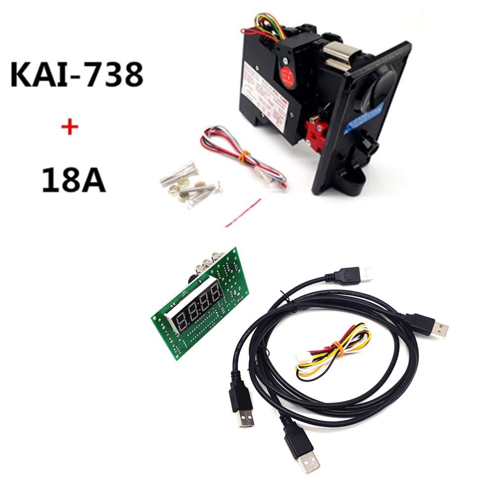 Plastik pelat depan KAI-738 CPU akseptor selektor koin dengan papan timer USB, kontrol daya perangkat USB, keyboard, mouse,