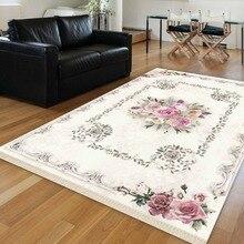 Más piso blanco rosas florales Vintage flores 3d impresión antideslizante KILM lavable alfombra de área decorativa alfombra Bohemia