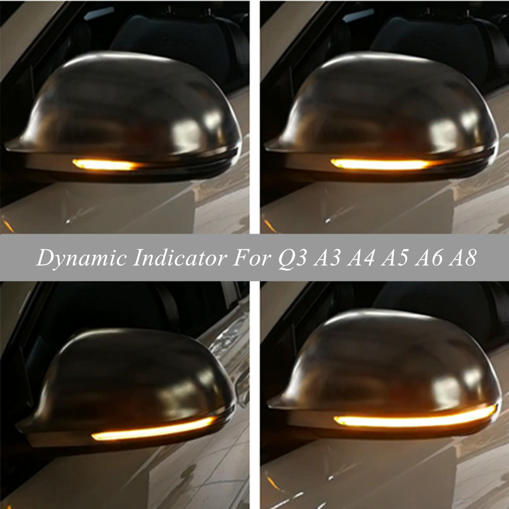 For <font><b>Audi</b></font> <font><b>A4</b></font> A5 <font><b>B8</b></font> S4 S5 Q3 SQ3 A3 8P A6 C6 4F S6 A8 D3 8K LED Dynamic Turn Signal Blinker Sequential Side Mirror Indicator Light image