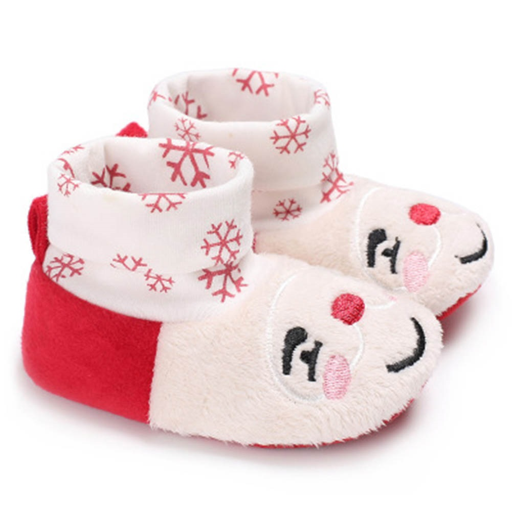 Cute Christmas Unisex Warm Baby Slippers Newborn First Walkers Prewalker Santa Claus Booties Winter Baby Shoes 11cm-13cm