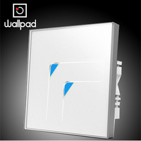 Free Shipping AC 110V 250V Wallpad White 2 Gangs 2 Way Waterproof Wall Touch Switch Tempered