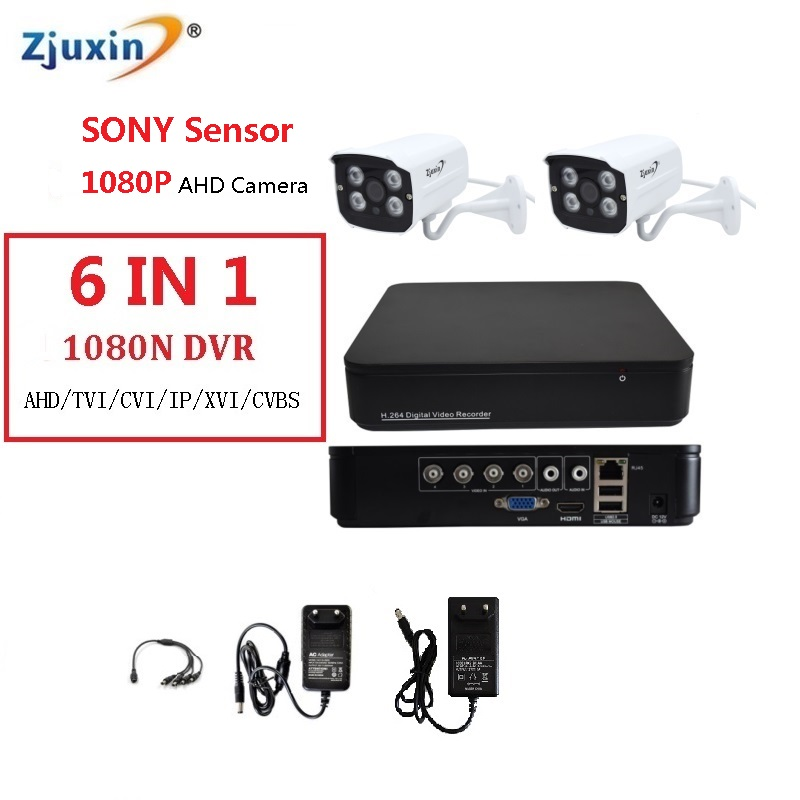 6IN1 4CH 1080N AHD DVR KIT 1080P SONY SENSOR METAL indoor and outdoor Security Camera USE 1080P 3.6MM Len 4pcs array led