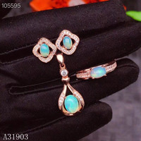 KJJEAXCMY boutique jewelry 925 sterling silver inlaid natural opal opal women's pendant necklace earrings ring 3 sets support de