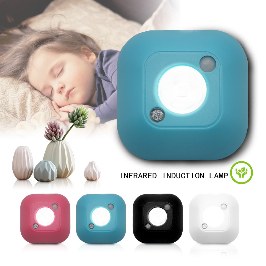 LED Wireless Night Light With Motion Sensor Lighting Waterproof Wall Lamp Cabinet Stairs Light Induction LED Light For Children