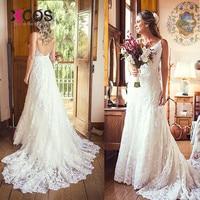 XCOS Mermaid wedding dress Lace Appliques Vintage wedding gowns Plus size China Bridal Gown for wedding vestido de noiva 2018
