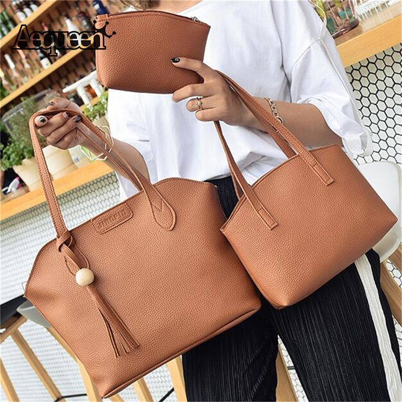AEQUEEN 3PCS Bag Set Women Handbags PU Leather Shoulder Crossbody Bags Tassel Composite Bag Lady Totes Winter Style Bolsa Female jooz brand luxury belts solid pu leather women handbag 3 pcs composite bags set female shoulder crossbody bag lady purse clutch
