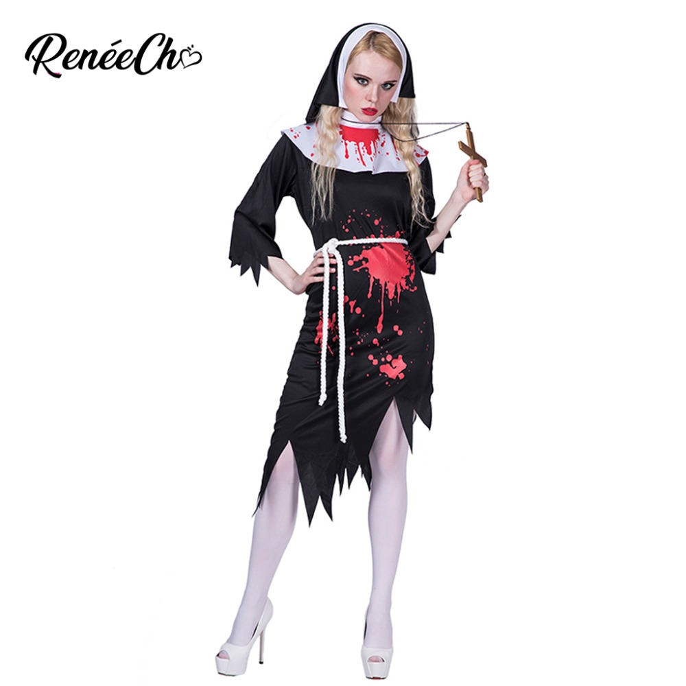 Reneecho 2018 Halloween costume adult Women Deadly Nun Costume Scary Zombie Cosplay Lady Black Bloody Dress With Headband Suit