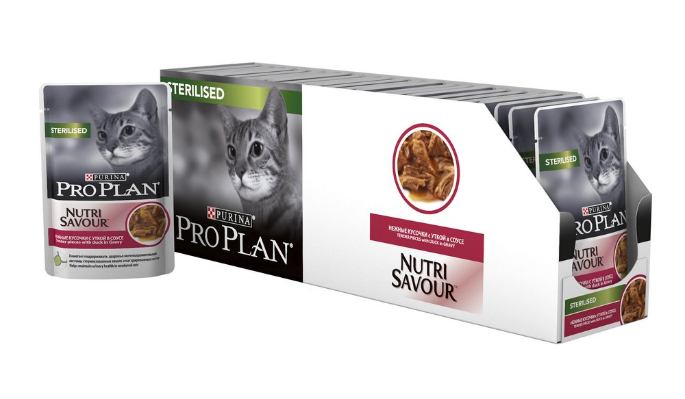 Cat wet food Pro Plan Nutrisavour Sterilized Pauch for sterilized cats and cats, Duck (pieces in sauce, 24*85 g) cat wet food pro plan adult spider for adult cats duck pieces in sauce 24 85 g