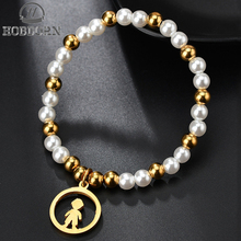 HOBBORN Fashion Stainless Steel Beads Jewelry Boy Figure Simulated Pearl Beaded Bracelets Women High Quality Charm Bracelet Gift