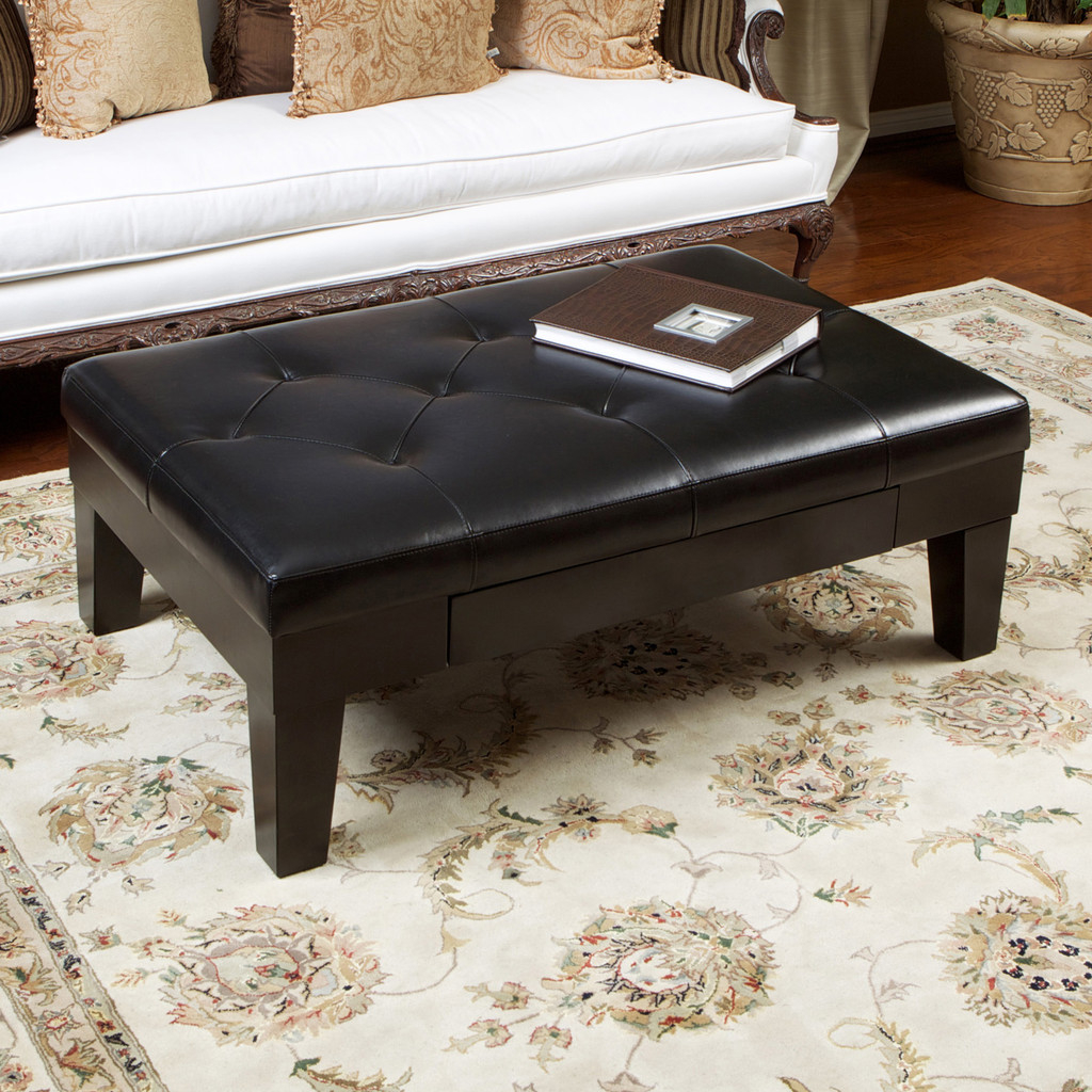 Edgar Leather Ottoman Coffee Table w/ Drawer пальто длинное edgar