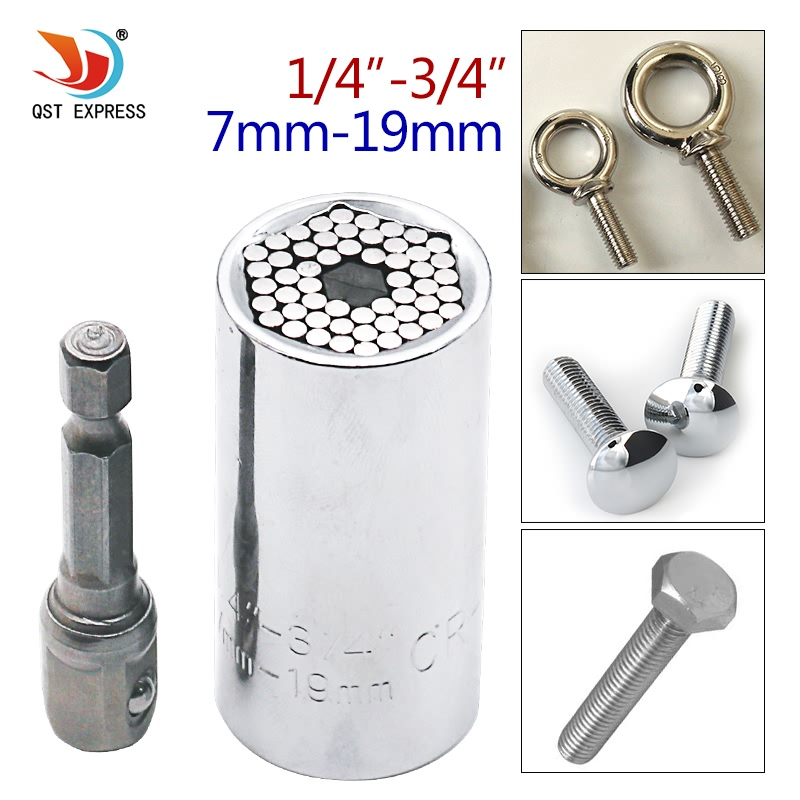 Wrench Bushing Set 7-19MM in 1Set Magic Spanner Grip Wrench Universal Socket Ratchet Wrench Fool inch Sleeve PieceWrench Bushing Set 7-19MM in 1Set Magic Spanner Grip Wrench Universal Socket Ratchet Wrench Fool inch Sleeve Piece