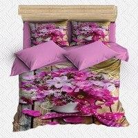 Sonst 6 Stück Rosa Weiß Wenig Blumen in Topf Blumen 3D Druck Baumwolle Satin Doppel Bettbezug Bettwäsche Set Kissen fall Bett Blatt Bettbezug Heim und Garten -