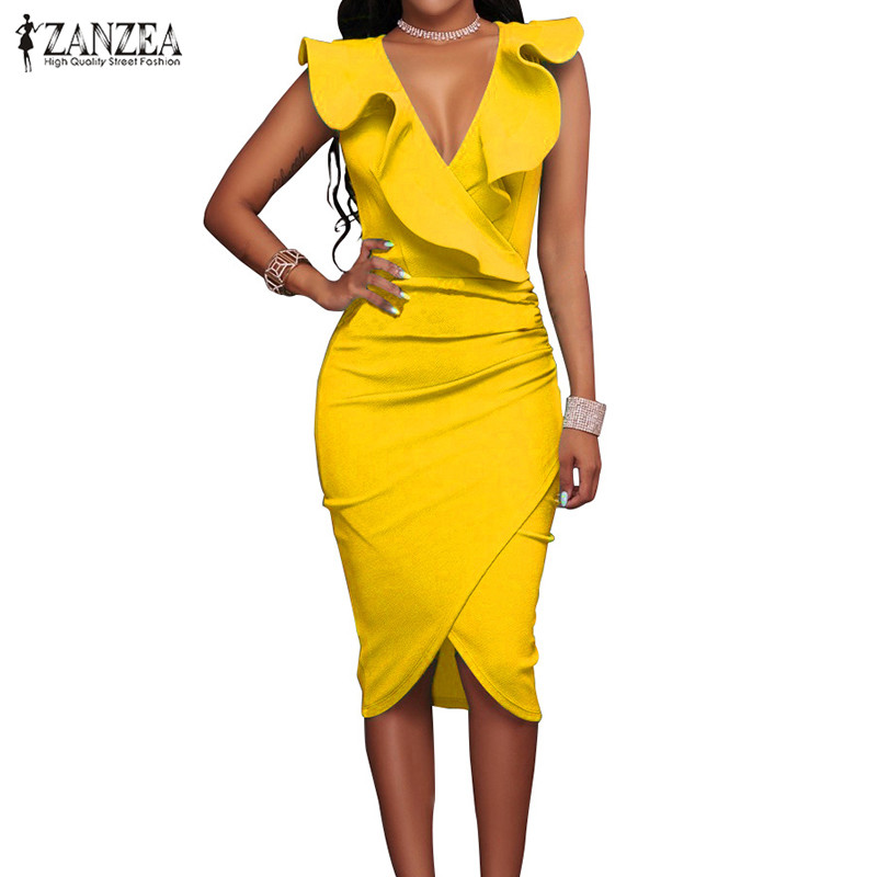 ZANZEA Women 2018 Summer Sexy Ladies Bodycon Dress V Neck Sleeveless OL Pencil Ruffles Bandage Package Hip Vestidos Plus Size