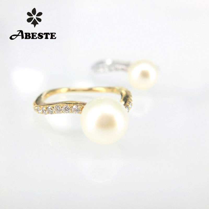 ANI 9K Yellow/White Gold Women Wedding Ring 8-9mm Natural White Freshwater/Tahiti Black Pearl Engagement Real Diamond Ring Stock kcchstar luxury dual pearl gold plated ring golden white us size 8