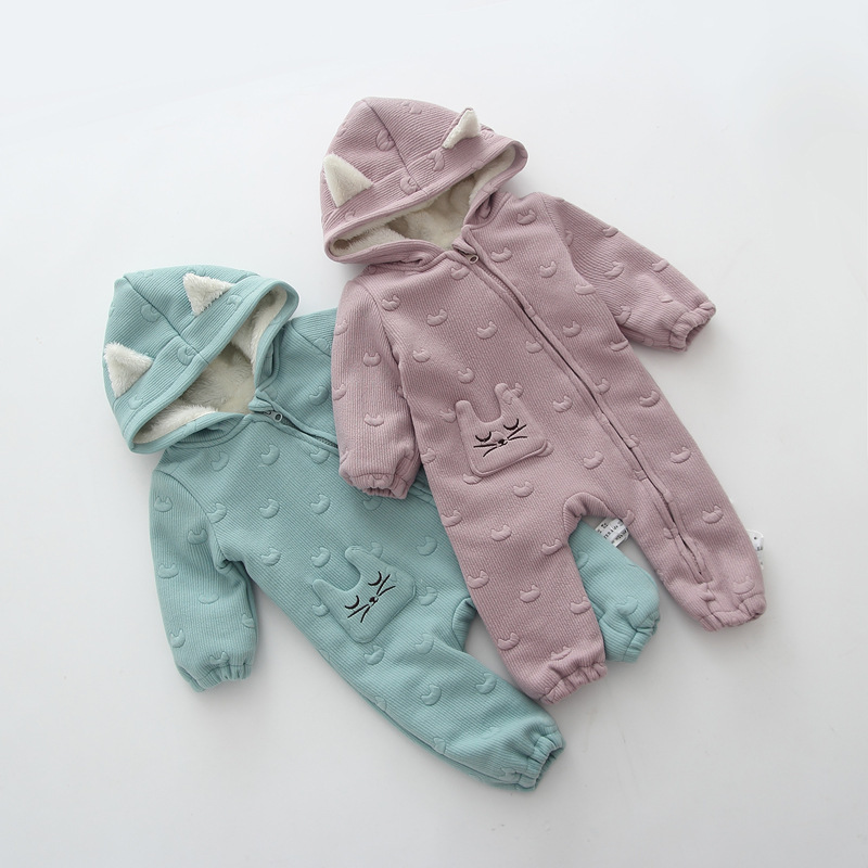 Baby Rompers Winter Thick Warm Jumpsuits Toddler Boys Girls Fleece Coverall Zipper Baby Clothing Plus Velevt kids baby toddler boys girls winter knit warm soft beanie hat hairball cap
