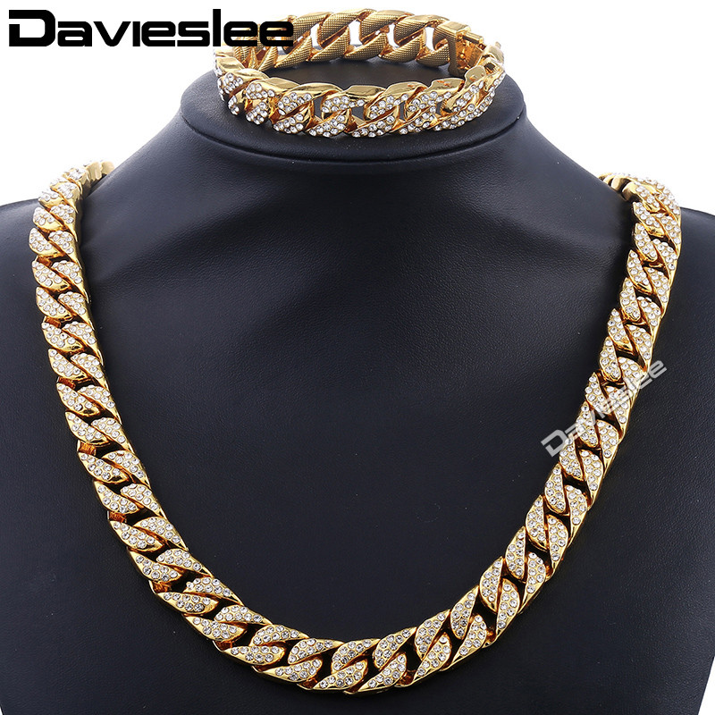 все цены на Davieslee Curb Cuban Womens Mens Necklace Bracelet Gold Silver Color Jewelry Set Hiphop Miami Bling Iced Out 14mm DGS261 онлайн
