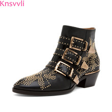 d65964b6d83 Knsvvli Sexy Rivets Susanna Studded Leather Buckle Ankle Boots For Women  Kitten Heels Winter Shoes Studded