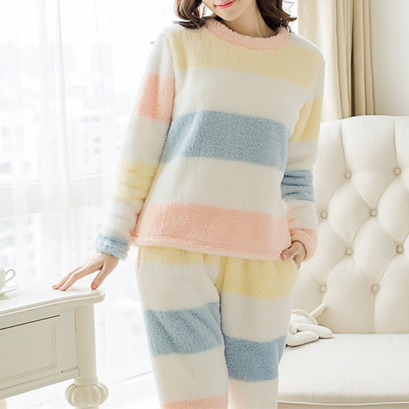 2019 Winter Women Warm Pyjamas Sets Thick Coral Velvet Suit Fleece Pullover And Pants Flannel Casual Home Wear Ladies Sleepwear Пижама