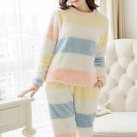 2018 Winter Women Warm Pyjamas Sets Thick Coral Velvet Suit Fleece Pullover And Pants Flannel Casual Home Wear Ladies Sleepwear
