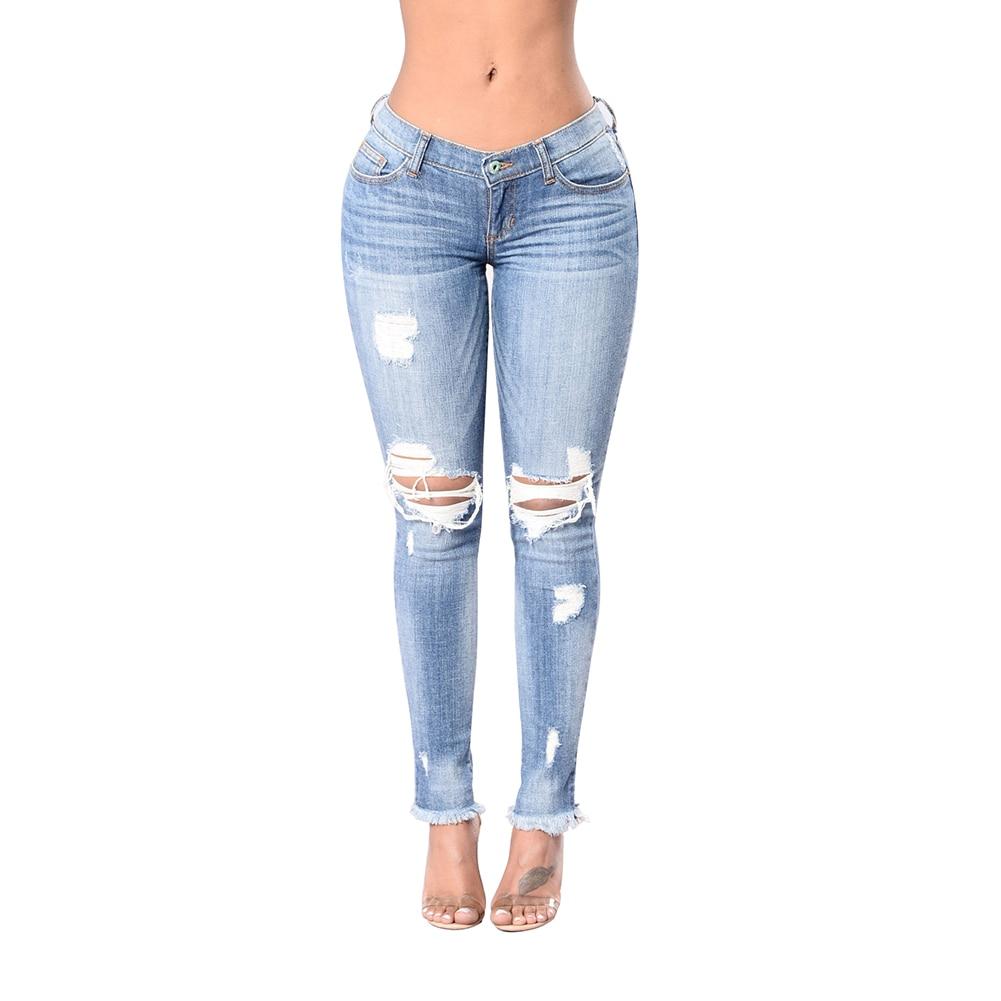 Mode Femmes Casual Déchiré Jeans Grande Élasticité Stretch Pantalon Maigre Pantalon