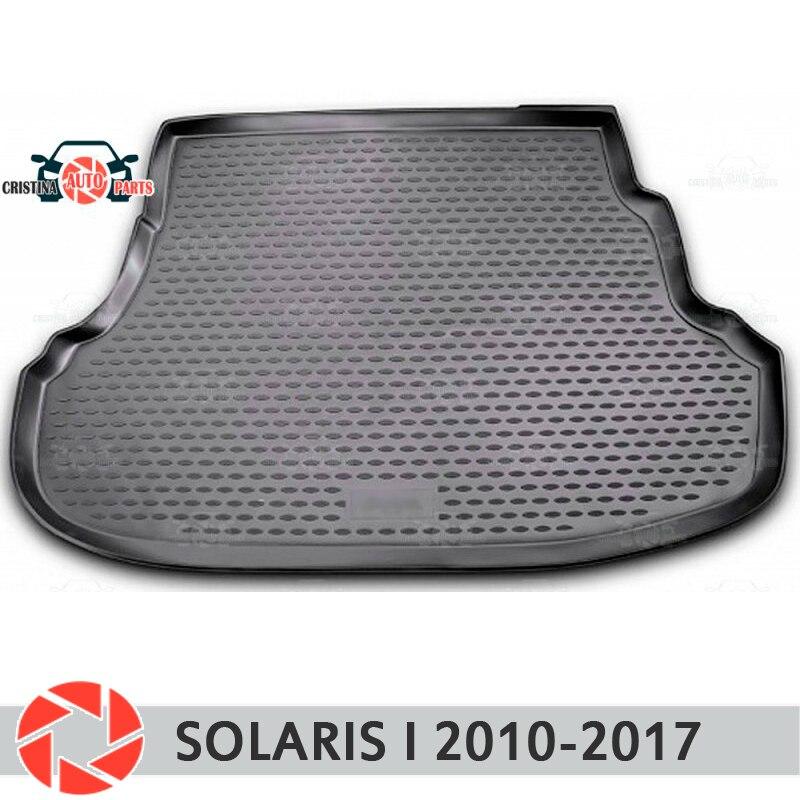 Alfombrilla de maletero para Hyundai Solaris 2010-2017 alfombrilla de suelo alfombra antideslizante de poliuretano de protección de suciedad interior del maletero del coche estilo