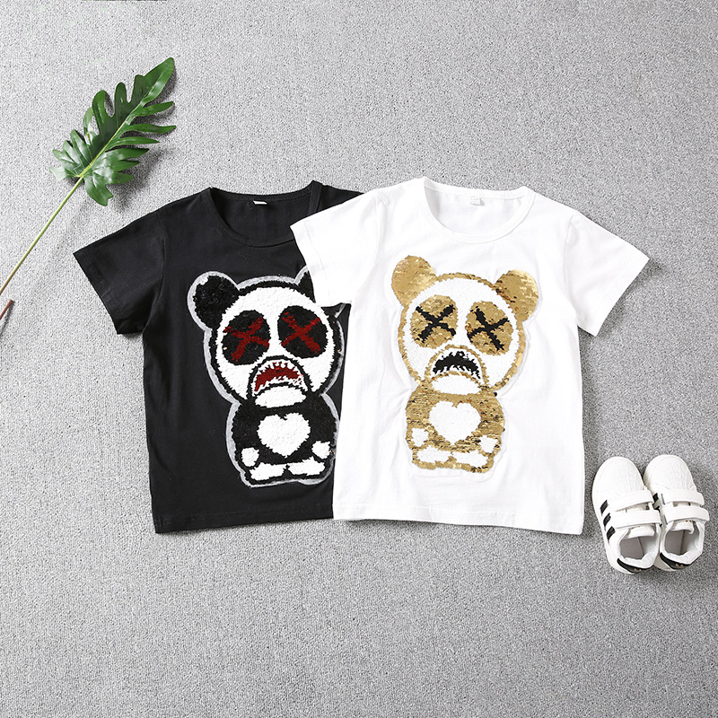 Fashion Style Gloomy Bear mickey cat Sequins change color T-shirts Cotton Summer Children Tshirts Short Sleeves For girl boy