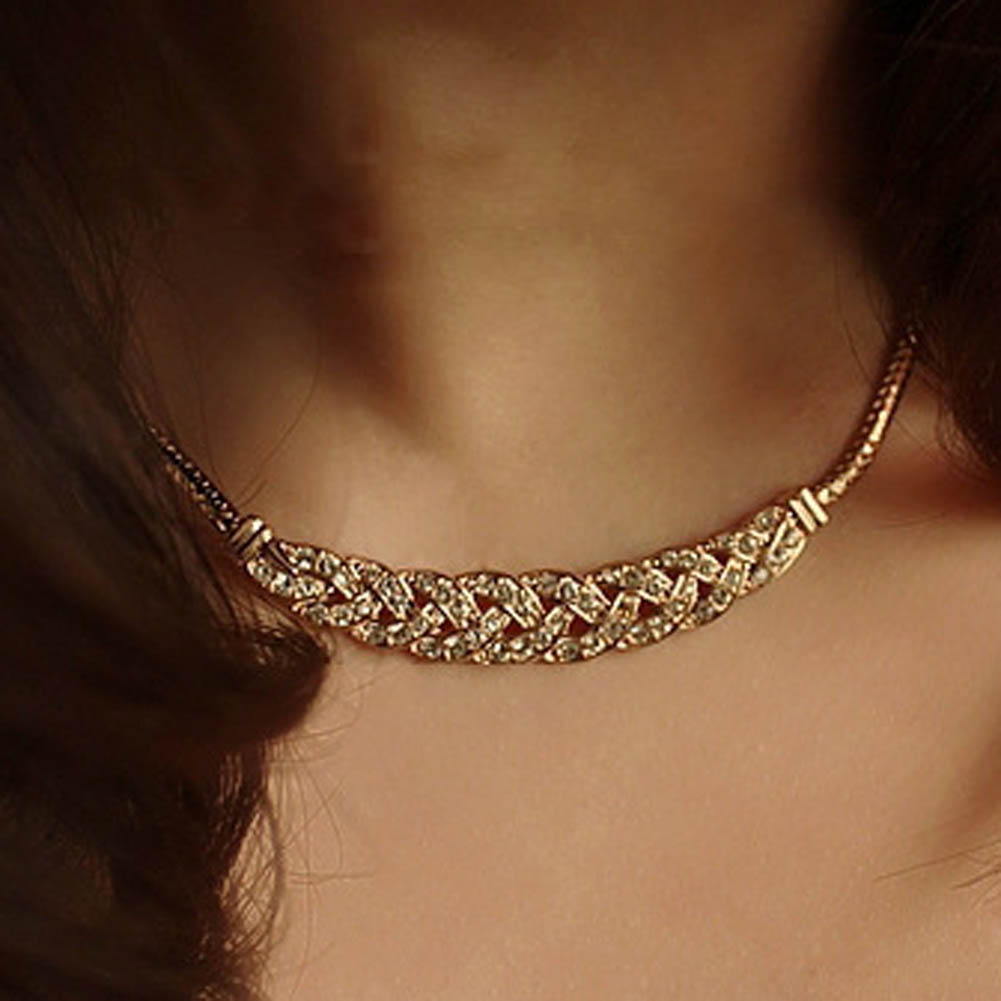 Vintage Noble Wheat Ear Full Rhinestone Short Necklace Choker Necklace Chunky Crystal Vintage Jewelry fashion