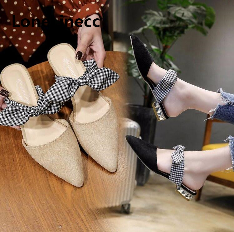 2018 Bow tie Flat Women Mules Pointed Toe Leather Fashion Casual Flats slippers Women shoes Slip on Summer Flat sandals Women 13