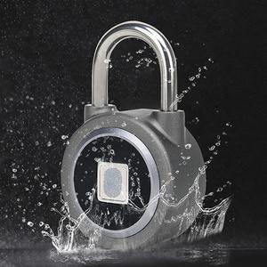Image 3 - Candado de huella digital Bluetooth, cerradura eléctrica inteligente para puerta, casillero, batería recargable, antirrobo, seguridad para casa (L01)