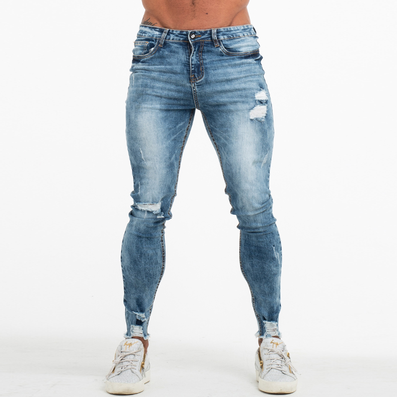 GINGTTO Ripped   Jeans   for Men Bottom Ripped Skinny   Jeans   Men Stonewashed Blue Distressed Strtech Denim Pants High Waist zm63