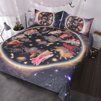 BlessLiving Galaxy Bedding Sets 3 Pieces Animals Antique Asian Celestial Art Duvet Cover Set 3d Oriental Home Textiles Queen