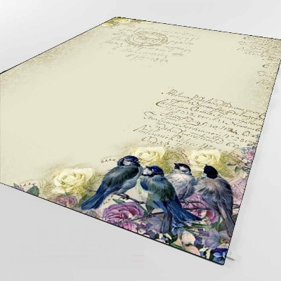 Else Blue Birds Yellow Purple Rose Brown Writen 3d Print Non Slip Microfiber Living Room Decorative Modern Washable Area Rug Mat