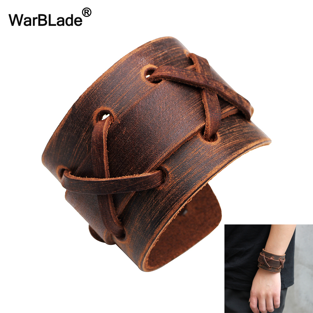 WarBLade 2018 New Fashion Black Brown Genuine Leather Wide Bracelet Bangles Cuff Wristband Rock Punk Women Men Bracelets