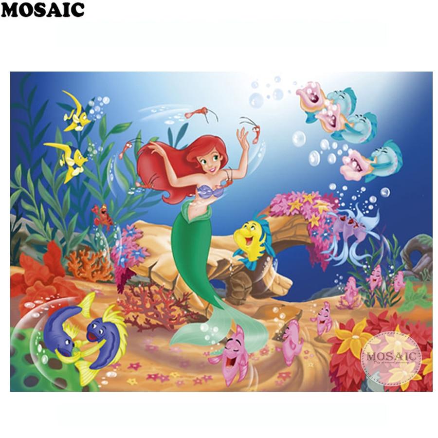 diamond painting cross stitch BirthdayParty gift Cartoon Characters Little Mermaid Children room decor,3d diamond embroidery