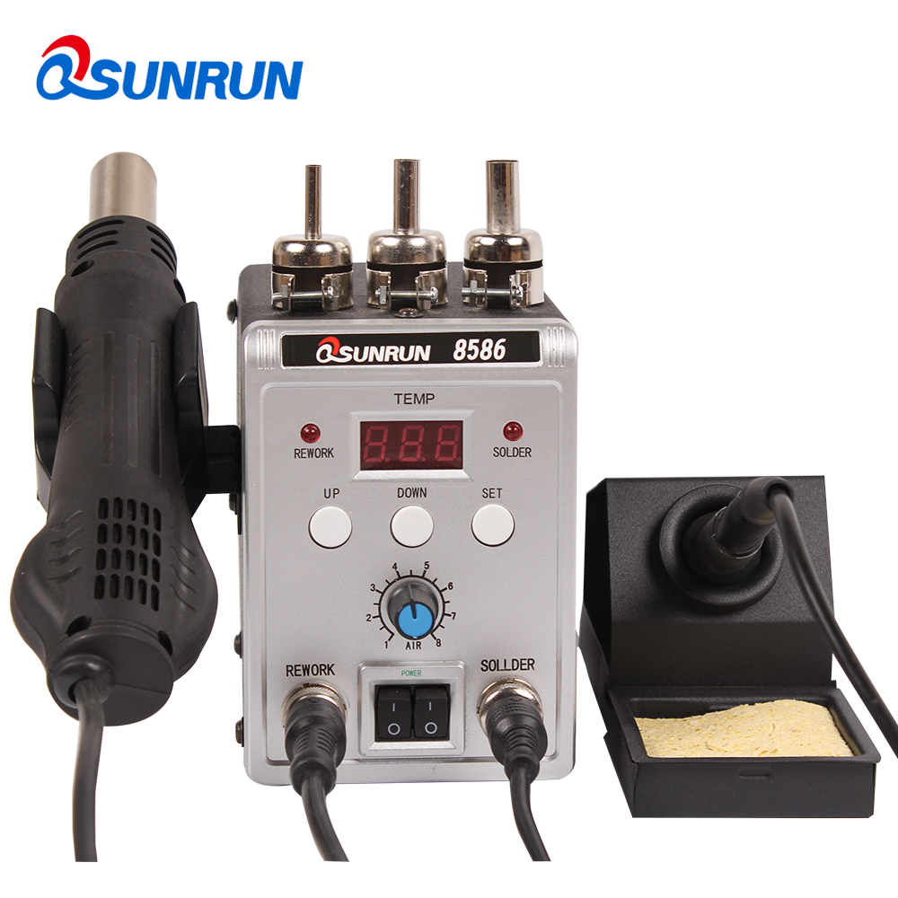 QSUNRUN 8586 Silver 700W 220V 2in1 SMD Rework Soldering Station Hot Air Gun Solder Iron With