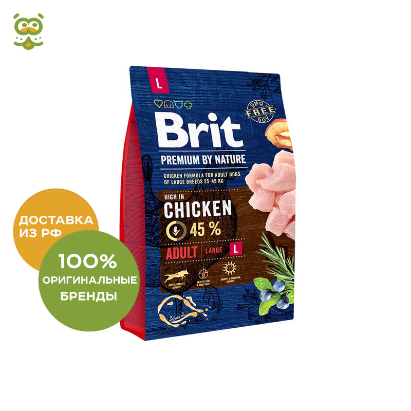 Food Brit Premium by Nature Adult L adult dogs large rocks, Chicken, 3 kg.