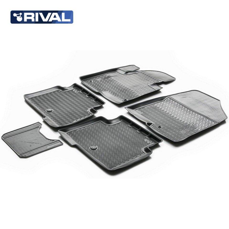 For Hyundai Santa Fe III 2012-2018 floor mats into saloon 5 pcs/set Rival 12306002 santa claus christmas hanging gadgets set 3 pcs