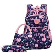 513dc3bd345b5 Kinder Schule Taschen für Mädchen Kinder 3 teile satz Schule Rucksack  Mädchen Wasserdichte Primäre Schulranzen