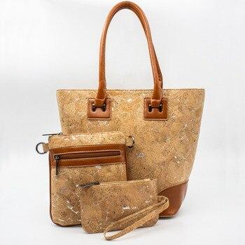 Ship from Portugal natural cork Cork handbags +bodycrooss+Purse set of three bags  vegan gift eco friendly BAGC-005