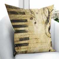 Más marrón piso negro notas de Piano Treble Clef Vintage 3D impresión Throw funda de almohada funda de Cojín cuadrado cremallera oculta 45 45x45 cm