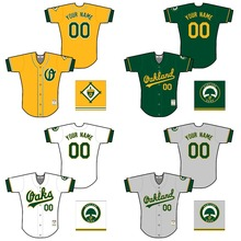 8a42e3336 Throwback Men s Personalized Name Number Oakland Jersey Stitched Color Grey  Green White Yellow Size S-