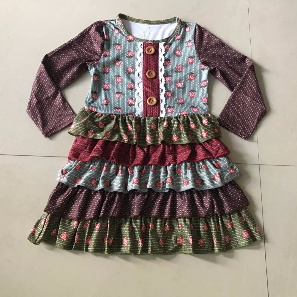 Fall Hot sale style 100%cotton with uniquer Five Ruffles trim and Full sleeves Long Baby Girls Dress Apparel Accessory football clothes tutus touch downs fall baby girls boutique skirt ruffle hot pink long sleeves bow heart with matching accessory