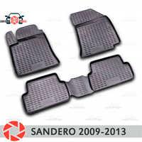 Tapis de sol pour Renault Sandero 2009-2013 tapis antidérapants polyuréthane protection contre la saleté intérieur voiture accessoires de coiffure