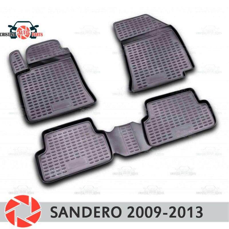 Alfombrillas para Renault Sandero 2009-2013 alfombras antideslizantes de poliuretano protección contra la suciedad accesorios de diseño para el interior del coche