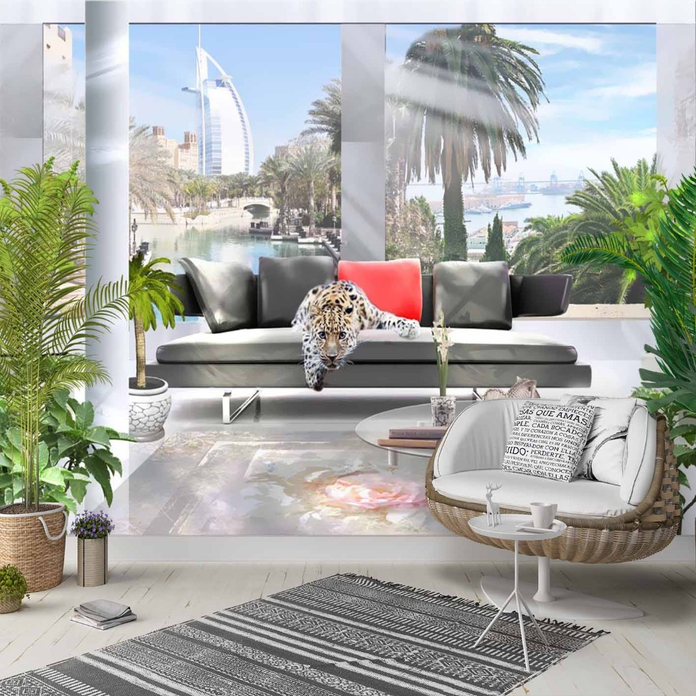 Else Wild Leopard Sofa Tropical Home 3d Print Photo Cleanable Fabric Mural Home Decor Living Room Bedroom Background Wallpaper