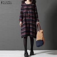 ZANZEA Women Autumn Oversized O Neck Long Sleeve Knee Length Dress Casual Vintage Striped Pockets Autumn