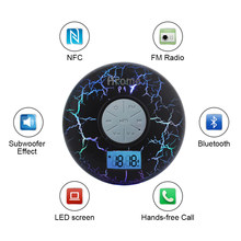 HXY Bluetooth Shower Speaker,Waterproof IPX7 with LCD,FM Radio,NFC,2600mAh,Black Crack Light,Subwoofer,Compatible With All Cell(China)