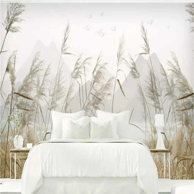 Prosty trzcinowy krajobraz dekoracje ścienne ozdobny obraz profesjonalna produkcja mural hurtownia tapety fototapeta