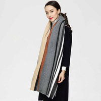 High Quality Grey Cape Classic Striped Scarf Knitted Plaid Foulard Famous Brand Shawl Fashion Cashmere Scarves